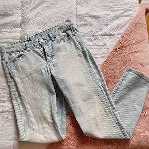 j crew toothpick pinstripe ankle jeans //